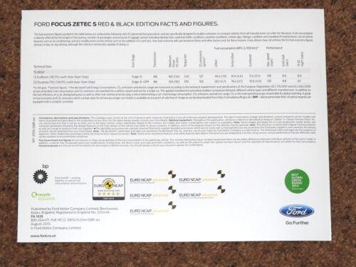 2015 Ford Focus Zetec Red /& Black Edition BROCHURE DI VENDITA 1.5 EcoBoost 2.0 TDCi