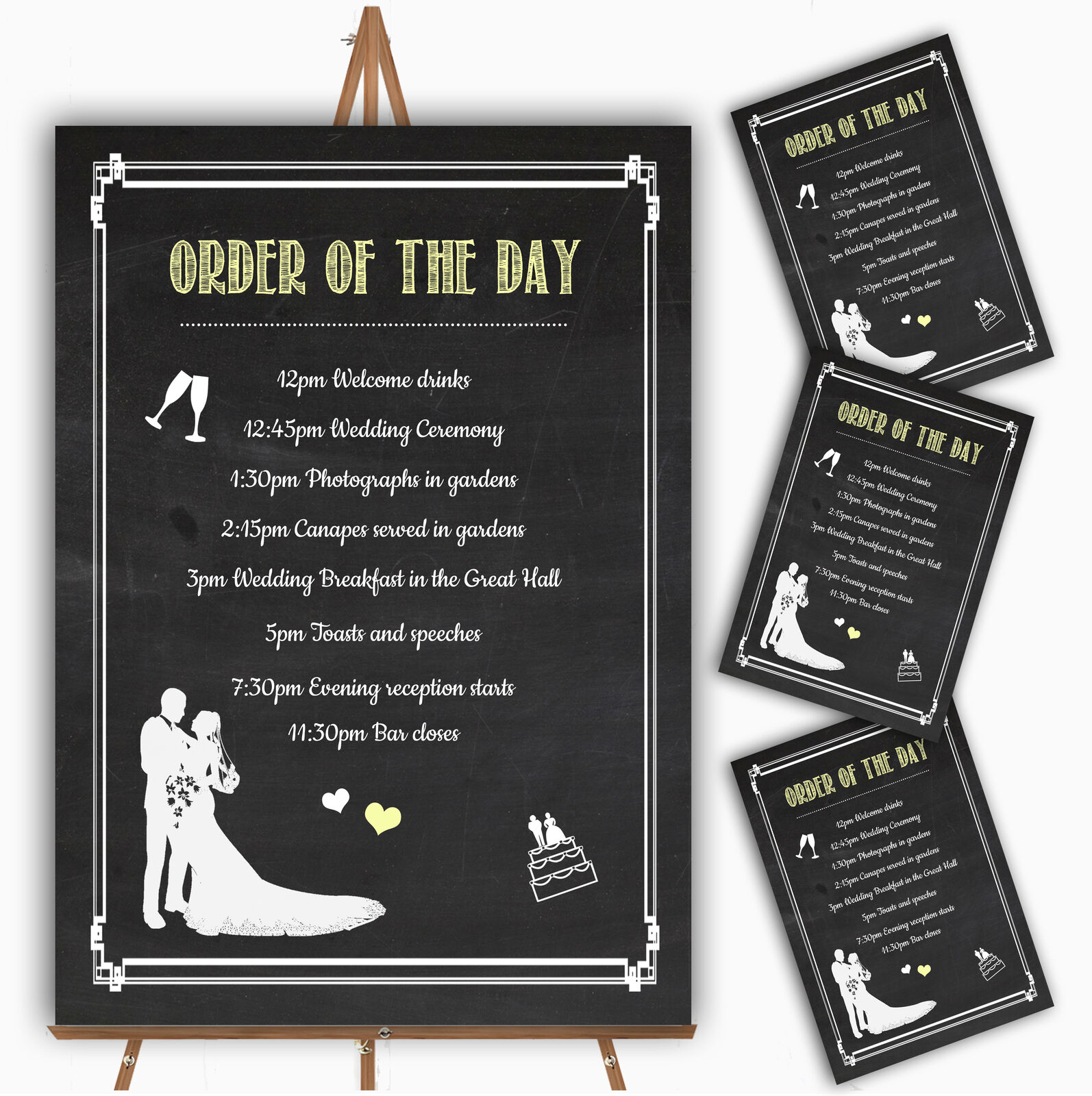 Chalkboard Gelb Personalised Wedding Order Of The Day Cards & Signs