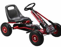 Kids - Children's Ride On Pedal Go Kart In Red With Brake And Pump Up Tyres