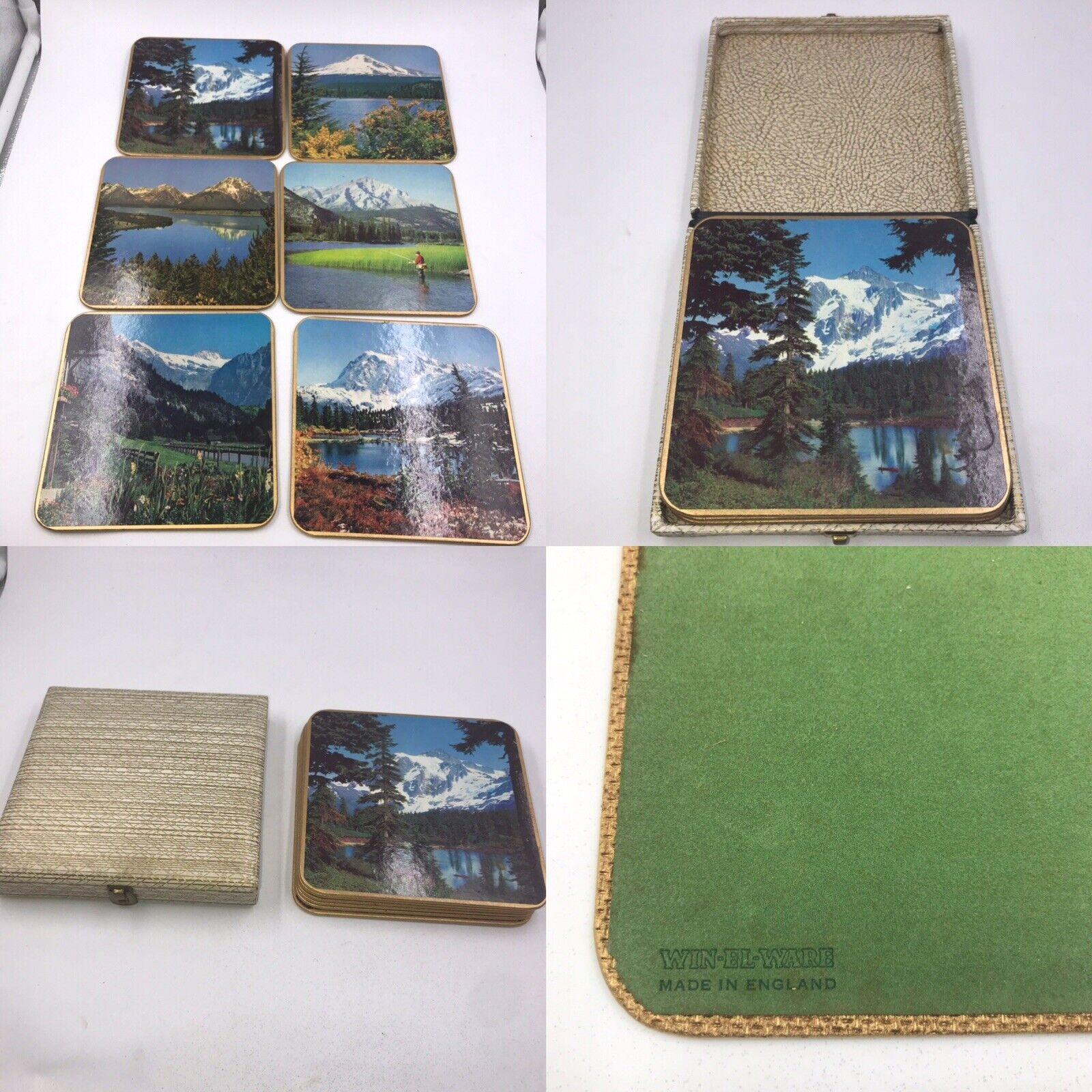 Vintage Win El Ware Kitsch 70's Swiss Alpine Scenes Square Placemats Boxed Rare