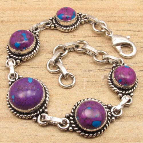 """Violet Turquoise /& pierres précieuses Variation Argent Plaqué Bijoux Bracelet 7 7//8/"""""""