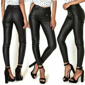 Para Mujer Elastizado Cenido Ajustado Pantalones Aspecto Cuero De Imitacion Biker Pantalones Negro 6 14 Ebay