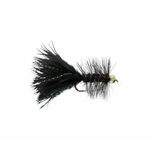 1 Dozen Weighted Bead Head Black Woolly Bugger Fishing Flies