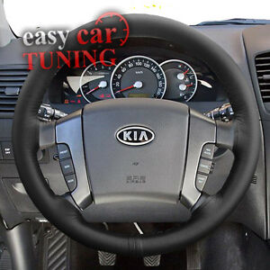 For Kia Sorento 2002 2009 Black Real Genuine Leather Steering Wheel