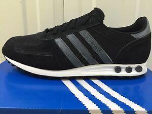 Original Mens Adidas Trainer Grigio Nero LA Scarpe da