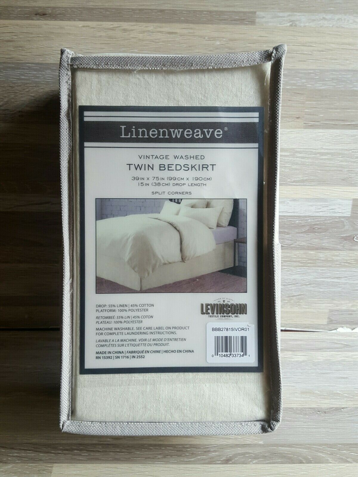 Linenweave Vintage Washed Full 15-Inch Drop Tailored Bedskirt In White