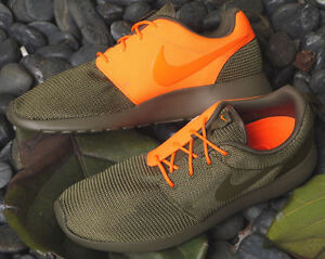 new concept 5774e 5bad9 Image is loading MENS-NIKE-ROSHERUN-GREEN-ORANGE-SZ-11-5