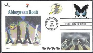 THE-BEATLES-ABBEY-ROAD-HALLOWEEN-ABBEYWEEN-SKELETONS-CATS-FDC-DWc-CACHET