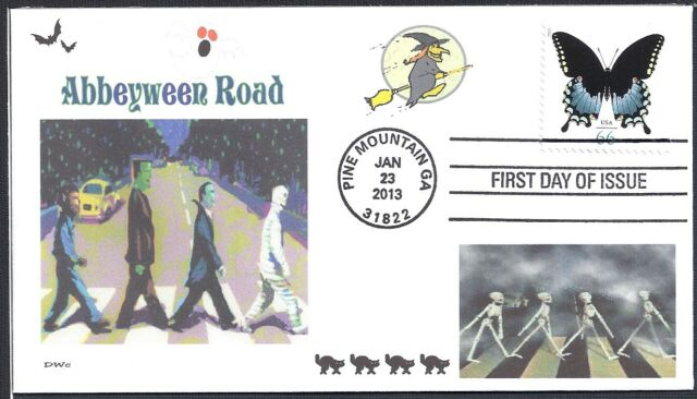 THE BEATLES  ABBEY ROAD  HALLOWEEN  ABBEYWEEN  SKELETONS  CATS  FDC- DWc CACHET