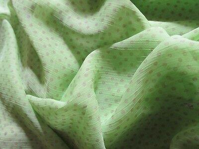 tissu Mousseline vert anis à pois en 150 cm de large au mètre fluide et chic
