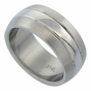 Men-039-s-Stainless-Steel-Size-11-Wedding-Band-9mm-Matte-Polished-Center-C27