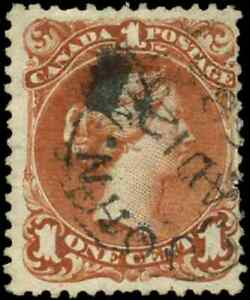 Canada-22-used-F-1868-Queen-Victoria-1c-brown-red-Large-Queen-SON-CDS-CV-80-00