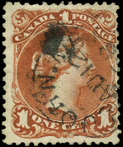 Canada #22 used F 1868 Queen Victoria 1c brown red Large Queen SON CDS CV$80.00