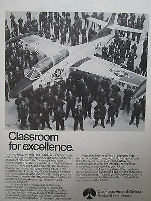 12/1974 Pub Columbus Aircraft Rockwell Us Navy T-2 Buckeye Jet Trainer Ad
