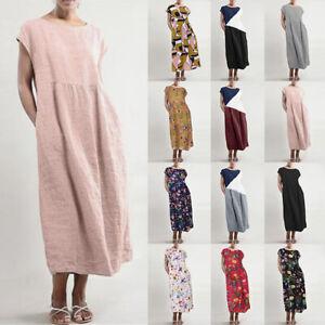 ZANZEA-Womens-Summer-Short-Sleeve-Baggy-Cotton-Loose-Kaftan-Midi-Shift-Dress