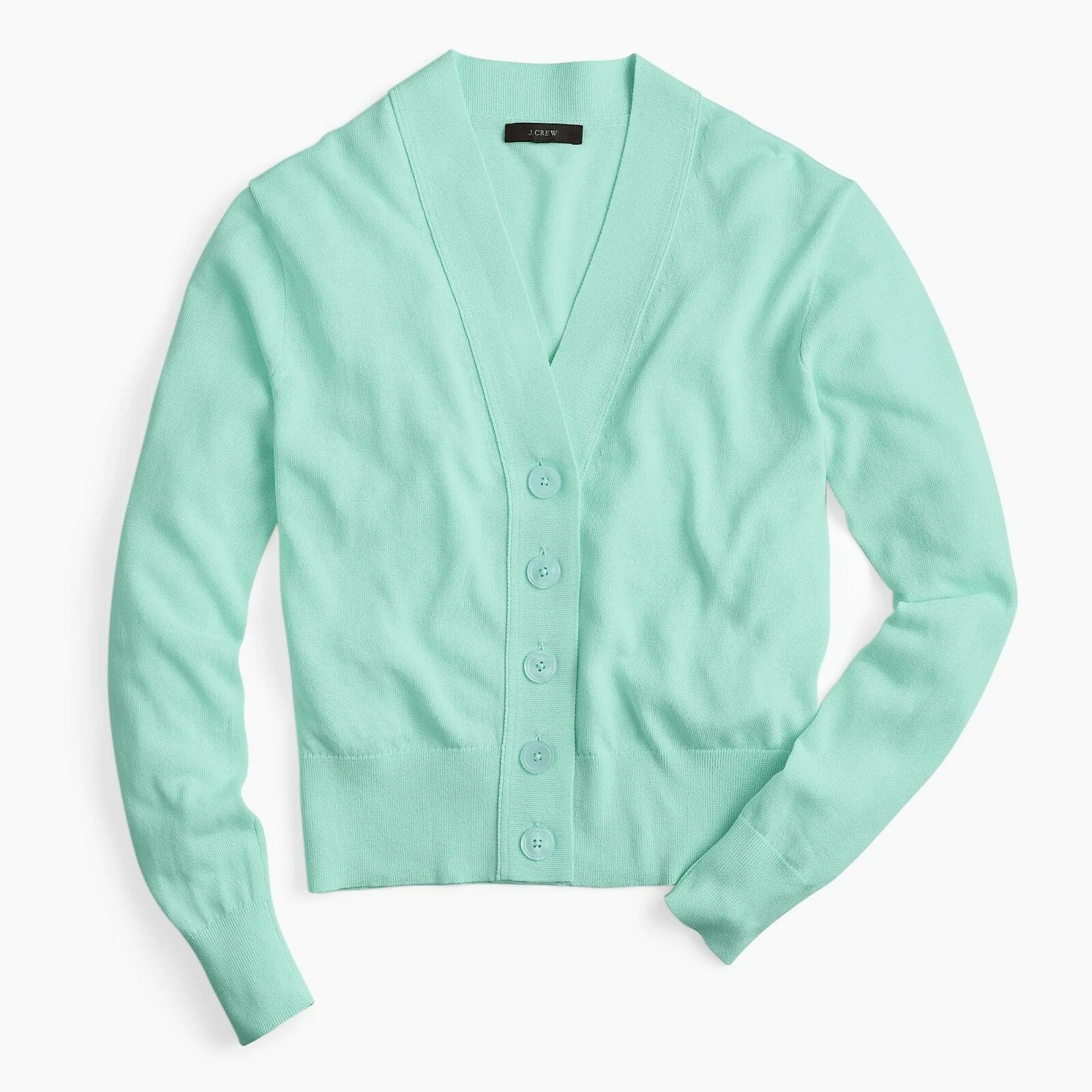 NWT J. Crew Cropped Lightweight Cardigan Sweater - Light Mint - Size Large