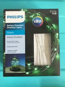 Philips-Battery-Dewdrop-Fairy-LED-Lights-Green-Indoor-Outdoor-w-Timer-NEW