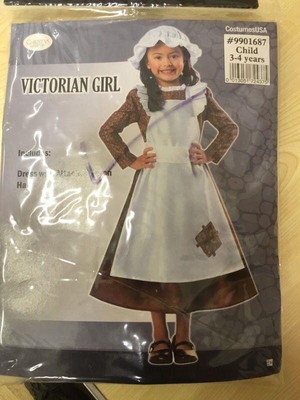 victorian girl costume, 3/4yrs.
