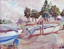 JACK SAVAGE - BOATS ON SHORE - ORIGINAL WATERCOLOR - C.1960 - NO RESERVE