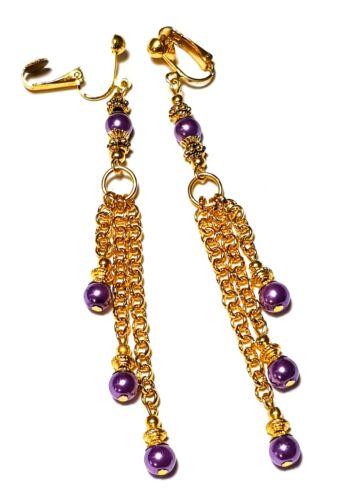 Long Purple Pearl Clip-On Earrings Gold Chain Glass Drop Dangle Prom Statement