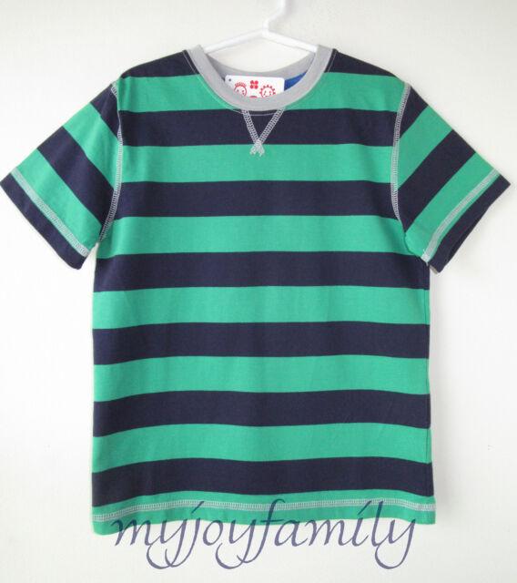 HANNA ANDERSSON Bold Stripe Tee Shirt Green Light Navy Blue 120 6-7 NWT