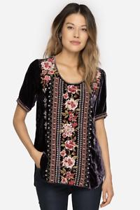JOHNNY-WAS-Velvet-MATILDA-Embroidered-JWLA-Tee-Shirt-Tunic-Blouse-S-258