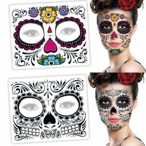 ef76e55c8 Halloween Day Of The Dead Face Sugar Skull Temporary Tattoo Stickers ...