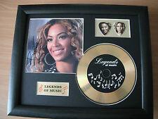 Beyonce Preprinted Autograph, Gold Disc & Plectrum Presentation