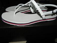 $385 Gucci New BALI Web Stripe White Leather Flat Thong Sandal Flip Flop 37.5- 7