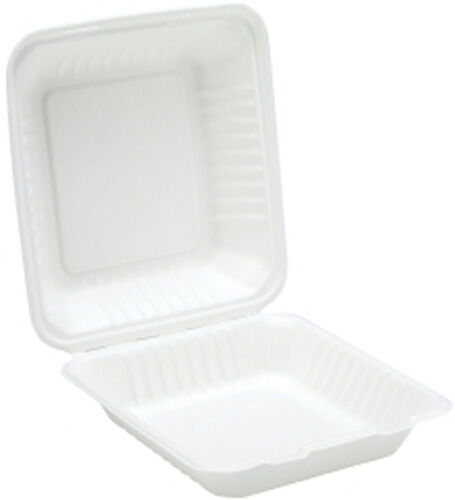 200 x Weiß 9  Paper Meal Box Container - Biodegradable Bagasse Sugarcane