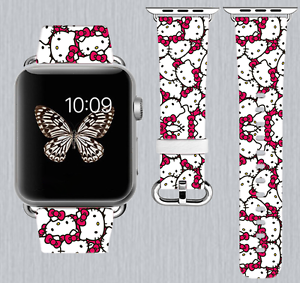 1d5485559fb Hello Kitty Apple Watch Band 38 40 42 44 mm IWatch Handmade PU ...