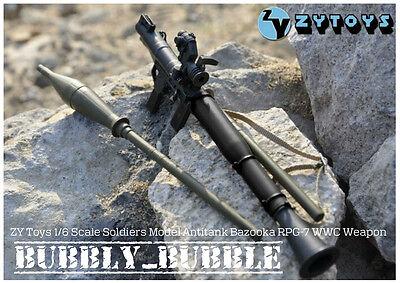 1//6 Scale ZY Toys Antitank Bazooka RPG7 Black WWC Weapon Model For 12/'/' Figure