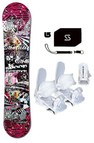 WHITE Bindings+Stomp+Leash+burton Dcal Package 144cm Spoon Evolution Snowboard