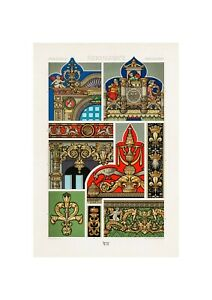 1888 Renaissance Pattern Architectural Ornaments From L/'ornement Polychrome by Albert Racinet Lithograph Vintage Art Print A3A4