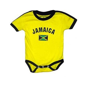 Jamaica Baby Bodysuit Cotton Soccer Country Flag T