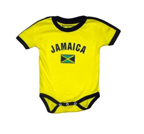 Jamaica Baby Bodysuit 100% Cotton Soccer Country Flag T-Shirt All