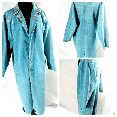 Long Denim Coat Denim Duster Blue Size Medium Larg