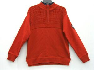 Tommy Hilfiger Red Mock Neck Mens Size Small S 12 Zip Cotton Sweater