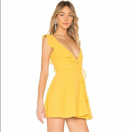 LPA Yellow Asymmetrical Ruffle Wrap Mini Dress