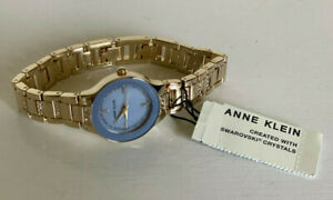 ANNE-KLEIN-W-SWAROVSKI-CRYSTALS-BLUE-MOTHER-OF-PEARL-DIAL-GOLD-BRACELET-WATCH