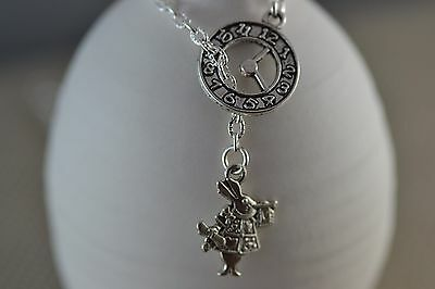 NA010 Alice In Wonderland Lariat, White Rabbit, Necklace, Tea Party