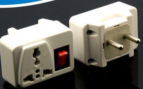 US USA to EU European Plug Adapter Power ON//OFF Switch Converter Energy Saving