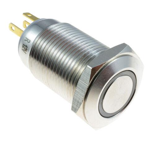 Angel Eye Metal LED Momentary 16mm Push Button Switch 12V SPST