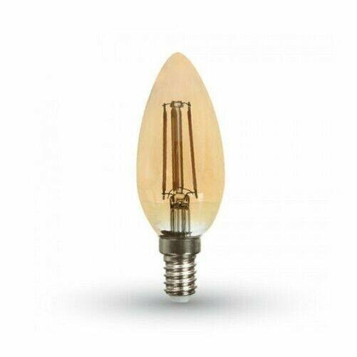 Ampoule LED 4W Bougie Verre Ambré V-tac Douille E14 VT-1955