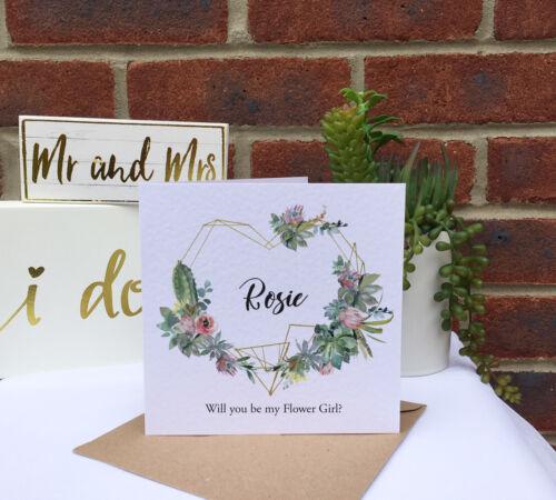 Personalised golden HEART frame CACTUS rustic wedding Bridesmaid proposal card