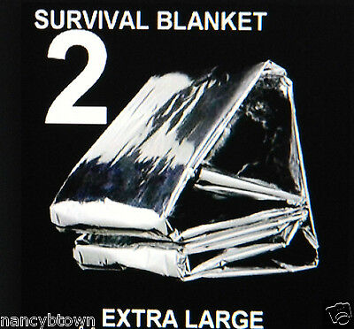 2 XL Emergency BLANKETS Solar Thermal Back Pack Camping Hunting Survival Prepper