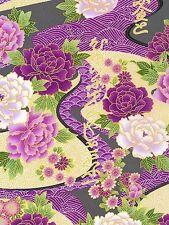 1 yard_Kona Bay_exotic garden_peonies_metallic_purple_gorgeous_FREE US SHIP