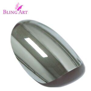 False-Nails-Silver-Chrome-Metallic-Oval-Medium-Bling-Art-Fake-Tips-2g-Glue