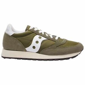 Saucony Jazz Original Vintage S7036813 Olive White Mens Suede Running Trainers