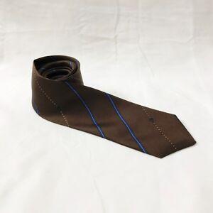 Caflor-Silk-Tie-Skinny-Narrow-Striped-Brown-Blue-Gold-Necktie-Italy-Vintage